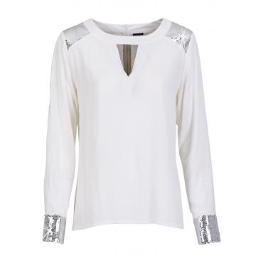Bluse langarm  figurumspielend  in weiß (Rundhals) für Damen von bonprix
