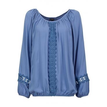 Bluse langarm  in blau (Rundhals) von bonprix
