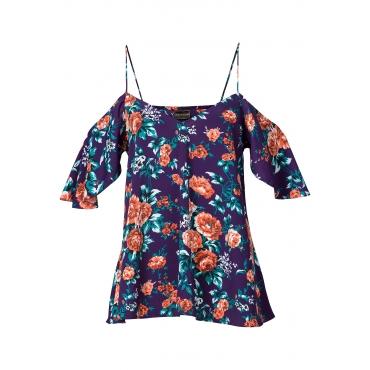 Bluse mit Cut-Outs halber Arm  in lila von bonprix