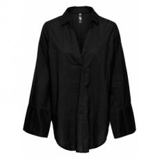 Bluse mit großer Manschette langarm  in schwarz von bonprix