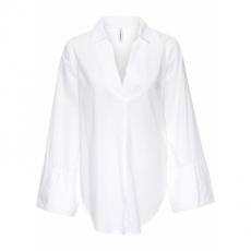 Bluse mit großer Manschette langarm  in weiß von bonprix