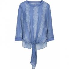 Bluse mit Knoten 3/4 Arm  in blau von bonprix