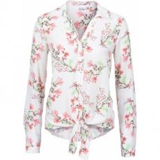 Bluse mit Knoten in weiß von bonprix
