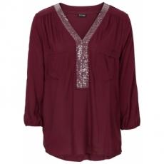 Bluse mit Pailletten in rot von bonprix