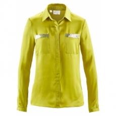 Bluse mit Pailletten langarm  in grün von bonprix