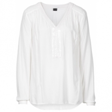 Bluse mit Pailletten langarm  in weiß von bonprix