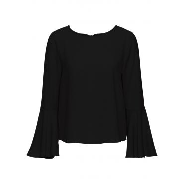Bluse mit Trompetenärmeln langarm  in schwarz von bonprix