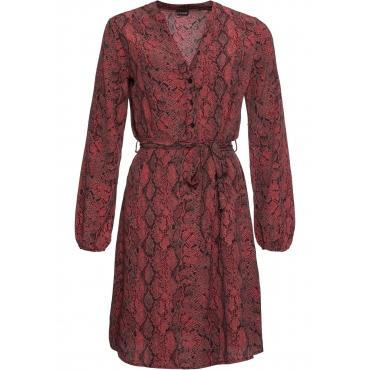 Blusenkleid mit Gürtel langarm  in pink für Damen von bonprix