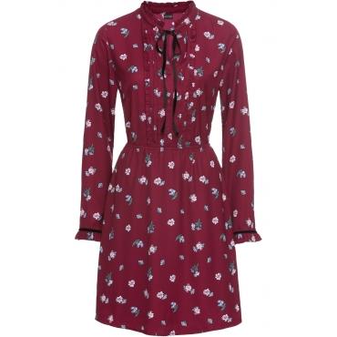 Blusenkleid mit Print langarm  in lila von bonprix