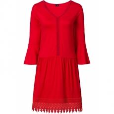 Boho-Kleid mit Applikation 3/4 Arm  in rot von bonprix