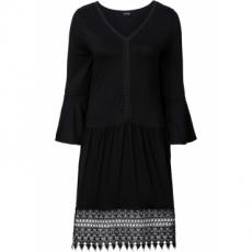 Boho-Kleid mit Applikation 3/4 Arm  in schwarz von bonprix