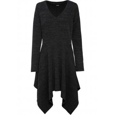 Bouclé-Ripp-Kleid langarm  in schwarz für Damen von bonprix