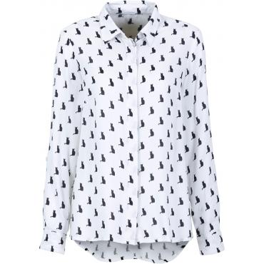 Boxy-Bluse langarm  in weiß (V-Ausschnitt) von bonprix