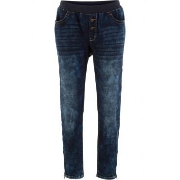 Boyfriend-Stretch-Jeans mit Rundumrippbund in schwarz für Damen von bonprix