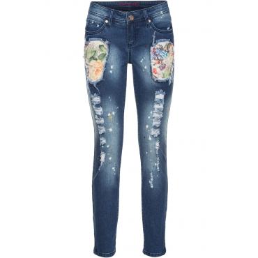 Bunte Jeans in Used-Optik in blau für Damen von bonprix