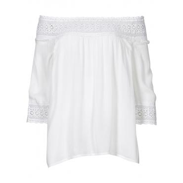 Carmen-Bluse mit Häkeleinsatz in weiß von bonprix