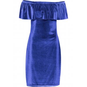 Carmen-Kleid aus Samt in blau für Damen von bonprix