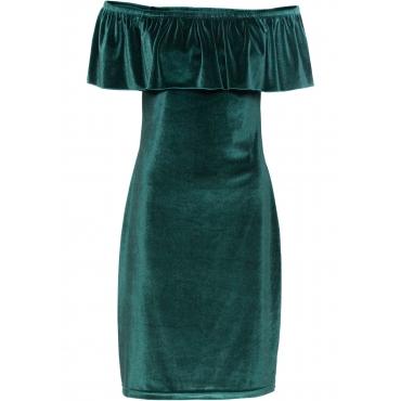 Carmen-Kleid aus Samt in grün für Damen von bonprix