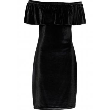 Carmen-Kleid aus Samt in schwarz für Damen von bonprix