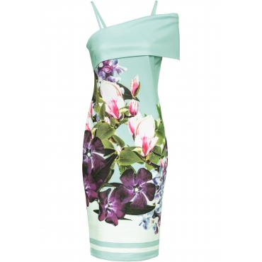 865de5054f424a Carmen Kleid mit Blumenmotiv in grün von bonprix