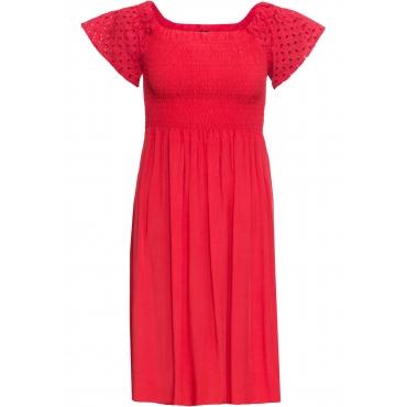 Carmen-Kleid mit gesmoktem Einsatz und Lochstickerei in rot für Damen von bonprix