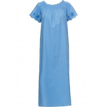 Carmen-Kleid mit Leinenanteil in blau für Damen von bonprix