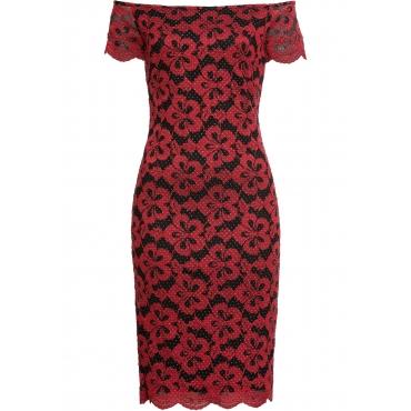 Carmen-Kleid mit Spitze in rot für Damen von bonprix
