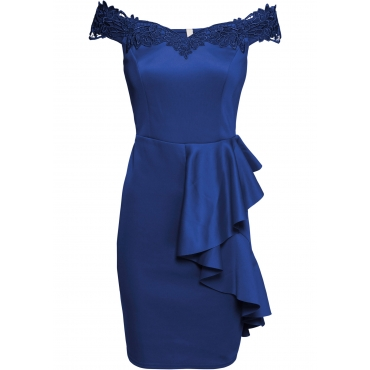 Carmen-Kleid mit Spitze und Volant in blau für Damen von bonprix