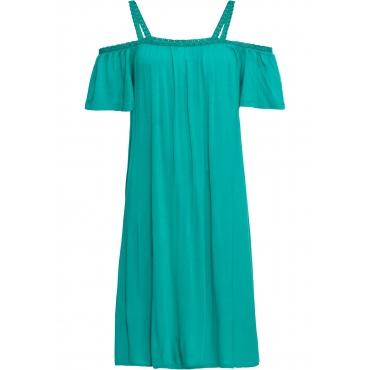 Carmen-Kleid mit Spitzenborte in grün für Damen von bonprix