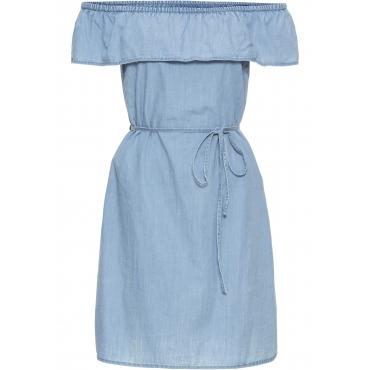Carmen-Kleid mit Volant in blau für Damen von bonprix