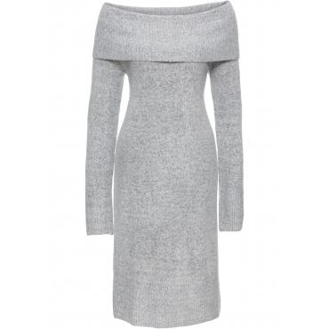 Carmen-Strickkleid in grau für Damen von bonprix