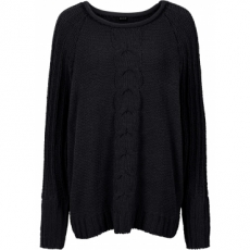 Chenille-Pullover langarm  in schwarz für Damen von bonprix