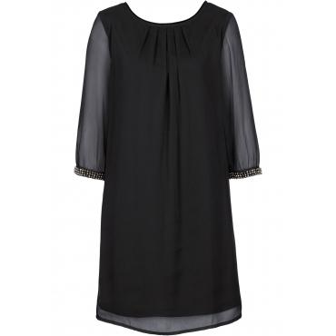 Chiffon-Kleid 3/4 Arm  in schwarz für Damen von bonprix