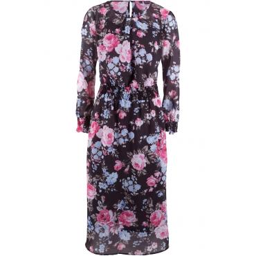 Chiffon-Kleid – designt von Maite Kelly langarm  in grau von bonprix