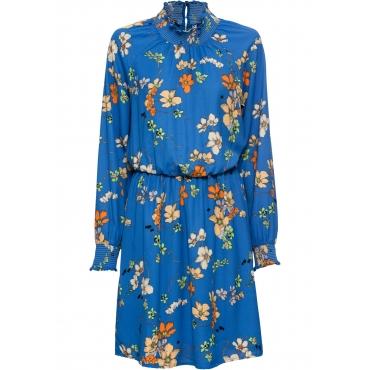 Chiffon-Kleid langarm  in blau von bonprix