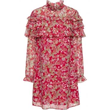 Chiffon-Kleid langarm  in rot von bonprix