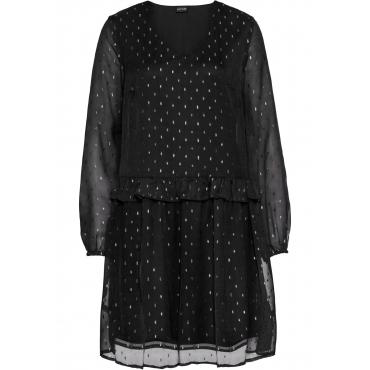 Chiffon-Kleid langarm  in schwarz für Damen von bonprix