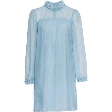 Chiffon-Kleid mit Blütenverzierung langarm  in blau von bonprix