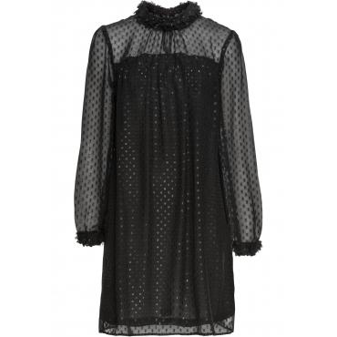 Chiffon-Kleid mit Blütenverzierung langarm  in schwarz von bonprix