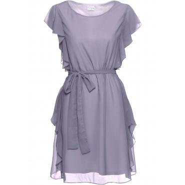 Chiffon-Kleid mit Gürtel ohne Ärmel  in lila  von bonprix
