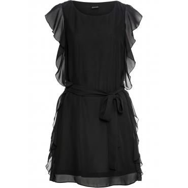 Chiffon-Kleid mit Gürtel ohne Ärmel  in schwarz  von bonprix