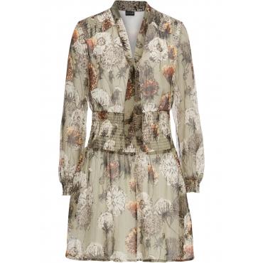 Chiffon-Kleid mit Smokeinsatz langarm  in grün für Damen von bonprix