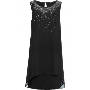 Chiffon-Kleid mit Strasssteinen ohne Ärmel  in schwarz für Damen von bonprix