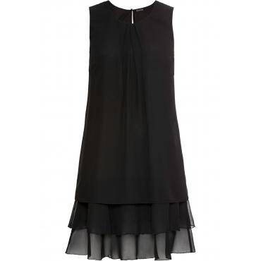 Chiffon-Kleid ohne Ärmel  in schwarz für Damen von bonprix