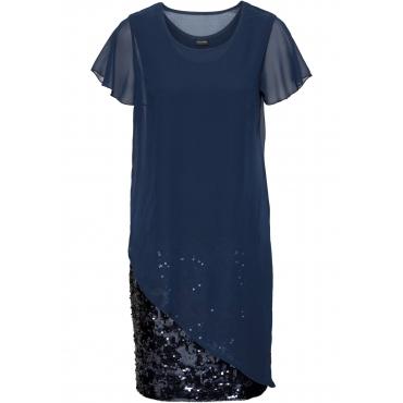 Cocktail-Kleid aus Jersey mit Pailletten kurzer Arm  in blau für Damen von bonprix
