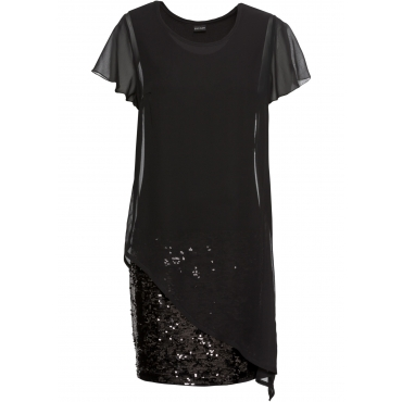Cocktail-Kleid aus Jersey mit Pailletten kurzer Arm  in schwarz für Damen von bonprix