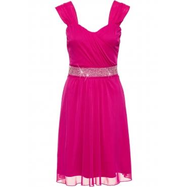 Cocktail-Jerseykleid mit Mesh ohne Ärmel  in pink für Damen von bonprix