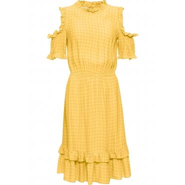 Cold-Shoulder-Kleid kurzer Arm  in gelb für Damen von bonprix