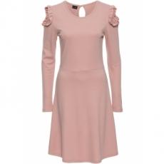 Cold Shoulder Kleid langarm  in rosa von bonprix