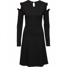 Cold Shoulder Kleid langarm  in schwarz von bonprix